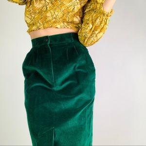 Vintage High-Rise Corduroy Pleat Midi Pencil Skirt